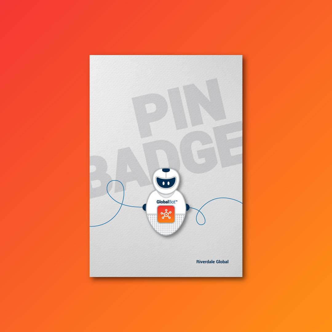 Riverdale Global brand pin badge design.
