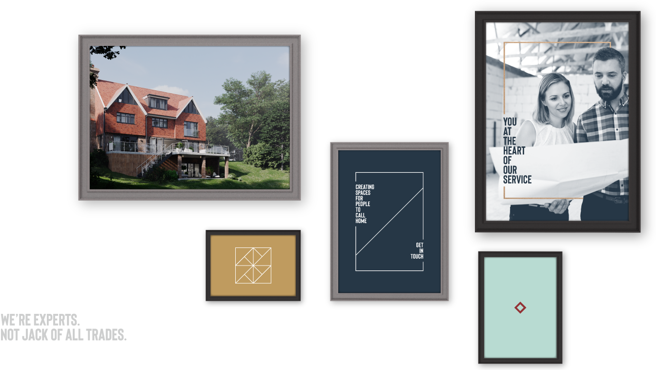 Bastion architects brand applied to a variety of different frames.