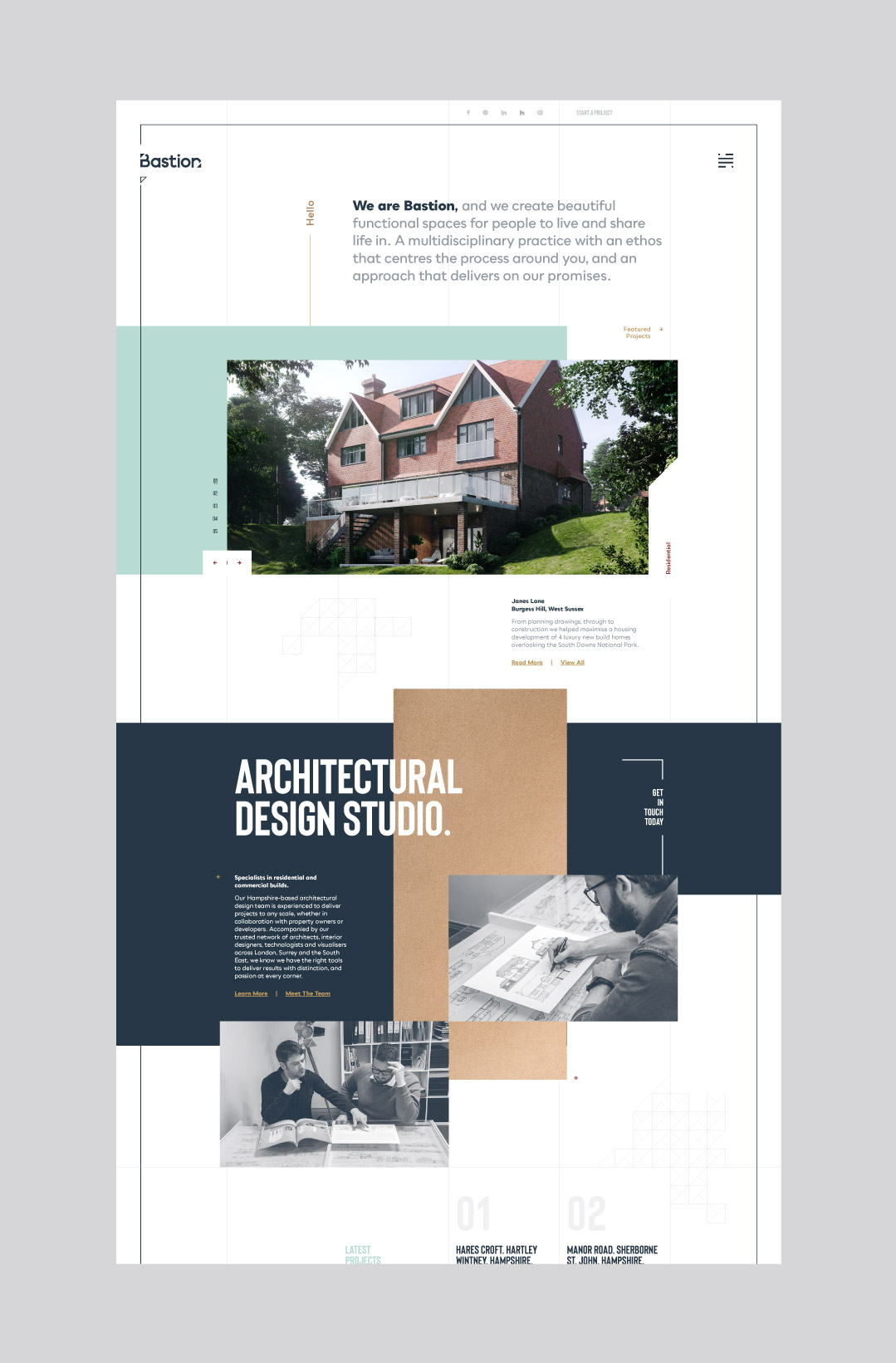 Bastion Architects bespoke desktop website design showing the home page.