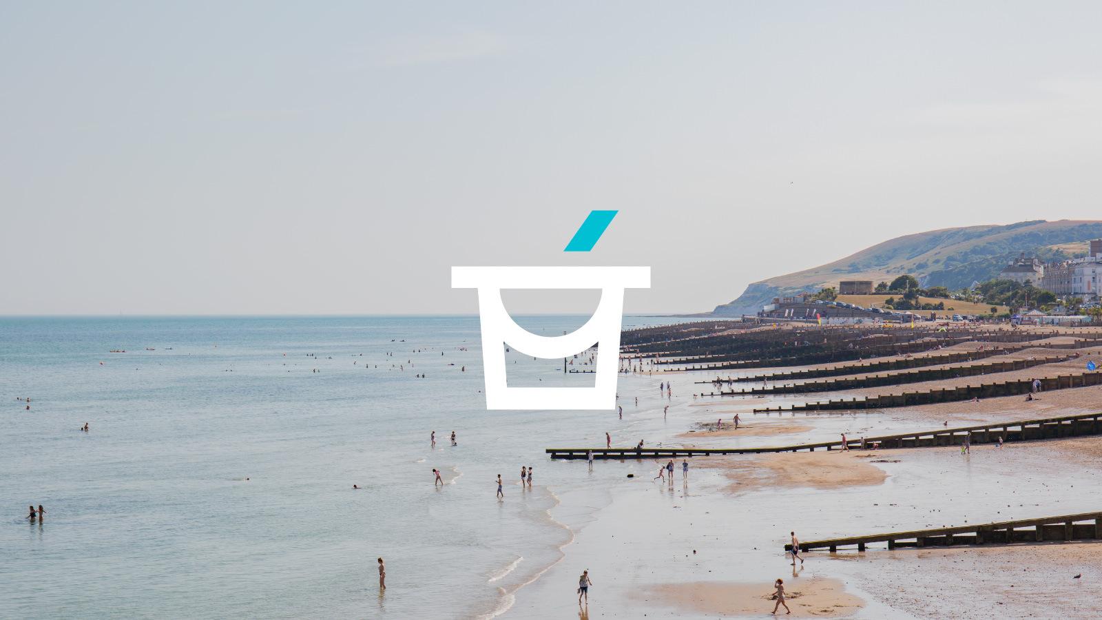 Bespoke single icon design of a bucket of an image of Eastbourne.