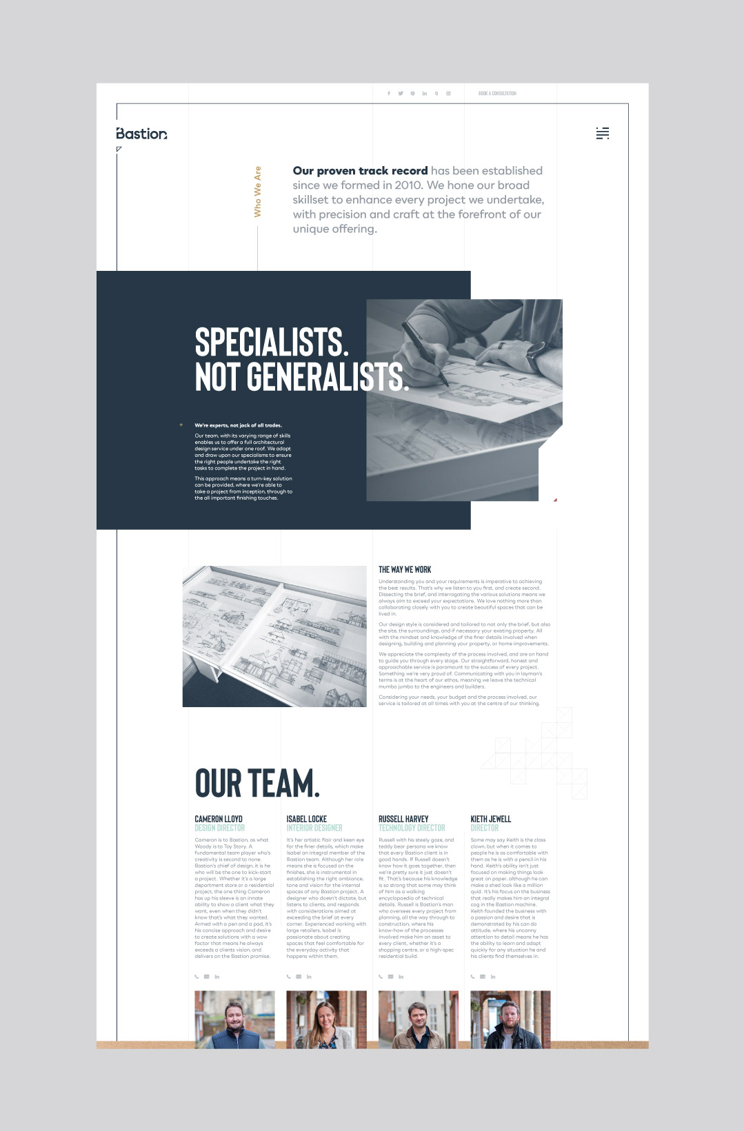 Bastion Architects bespoke desktop website design showing the about page.
