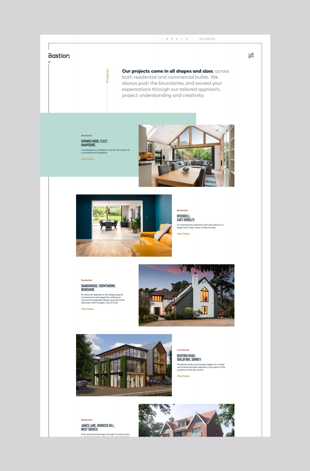 Bespoke desktop website design showing the projects page.