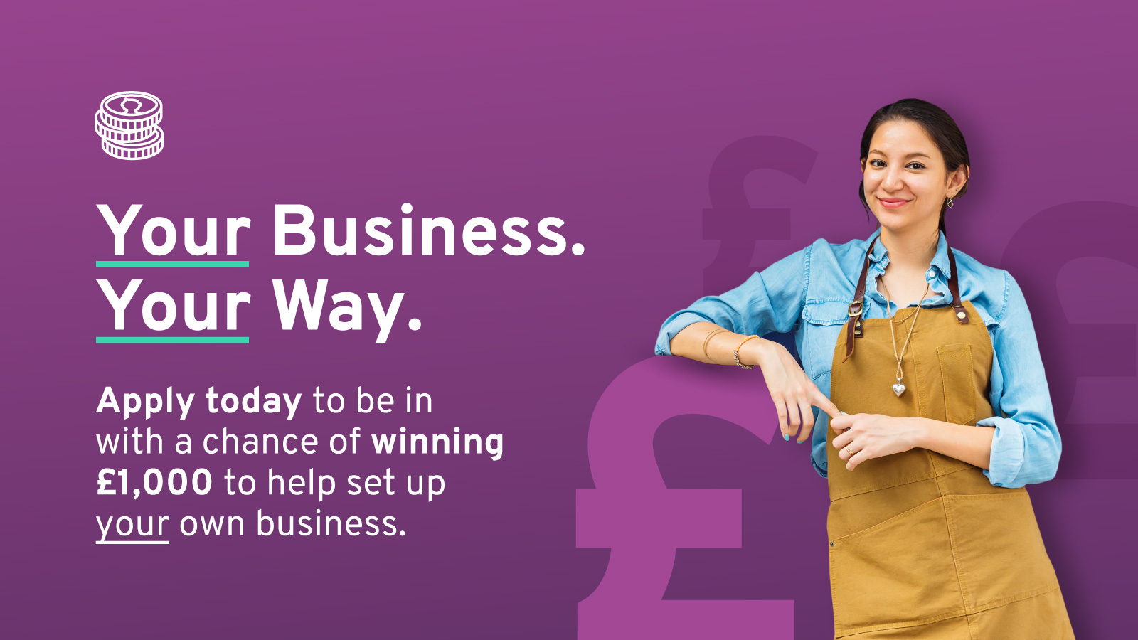 Young business woman smiling on the brand campaign graphic.