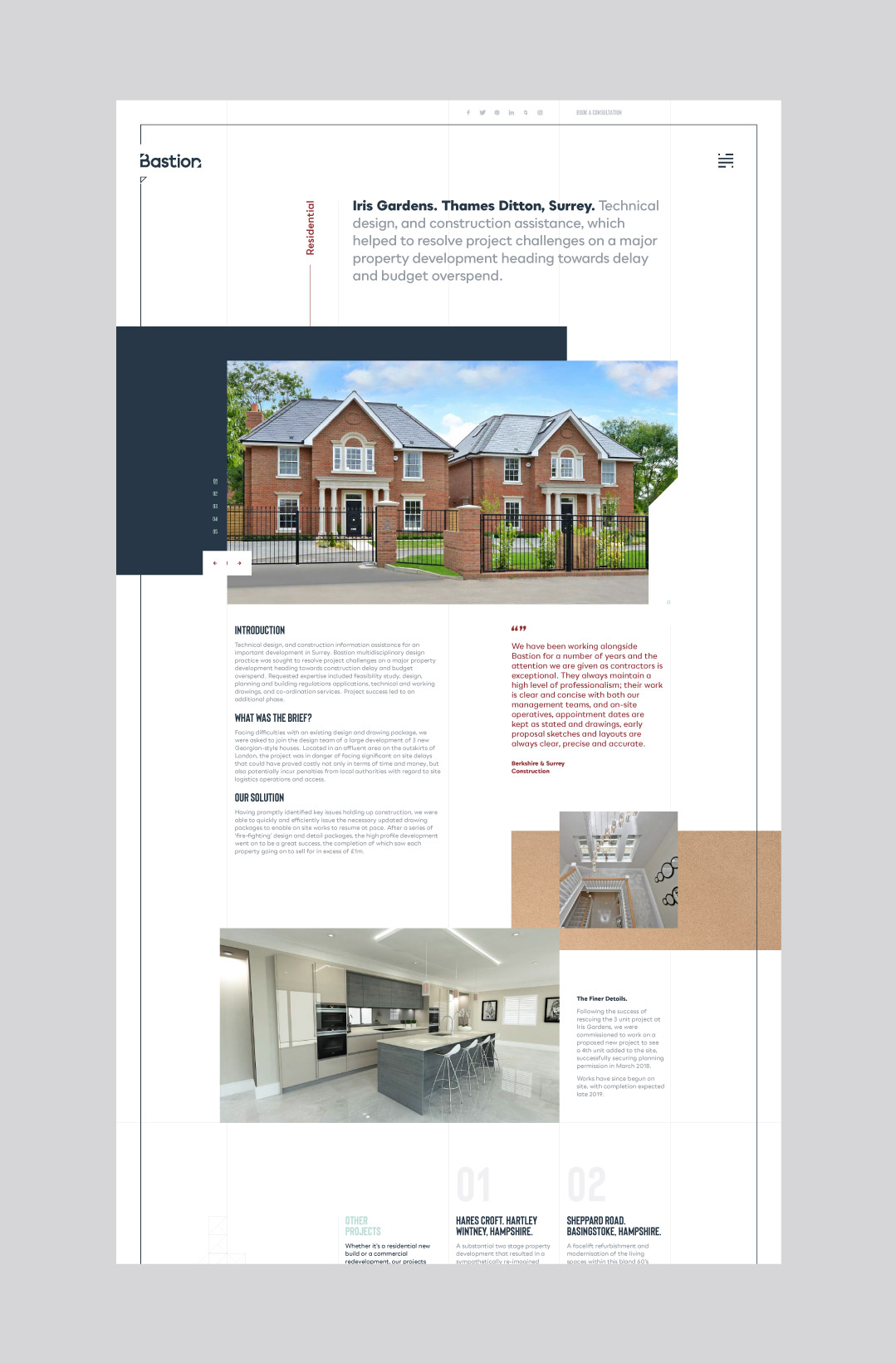 Bespoke desktop website design showing a project page.
