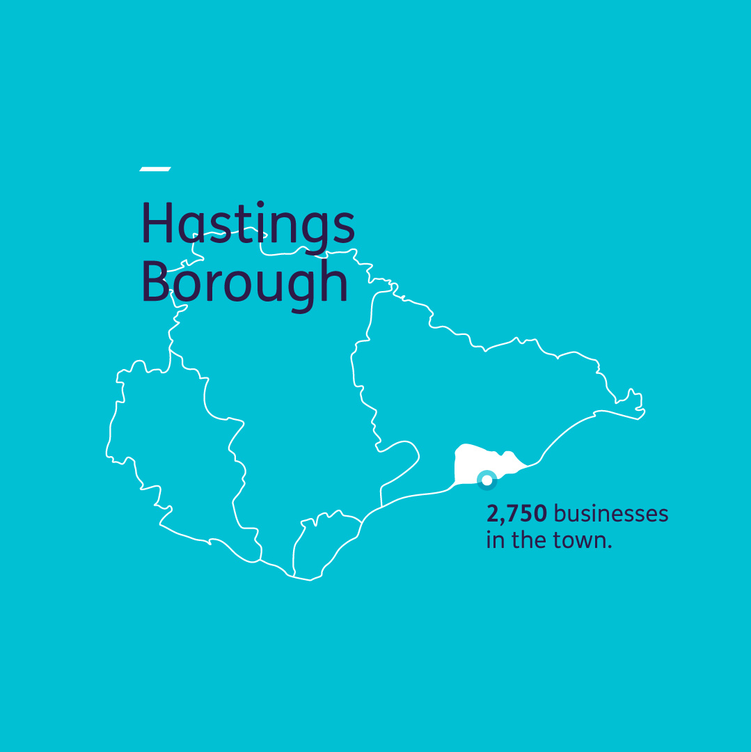 Hastings information graphic showing  the number of businesses in the town.