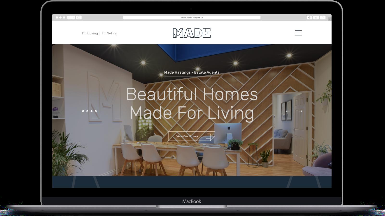 Made Hastings estate agency branding applied to the desktop website.