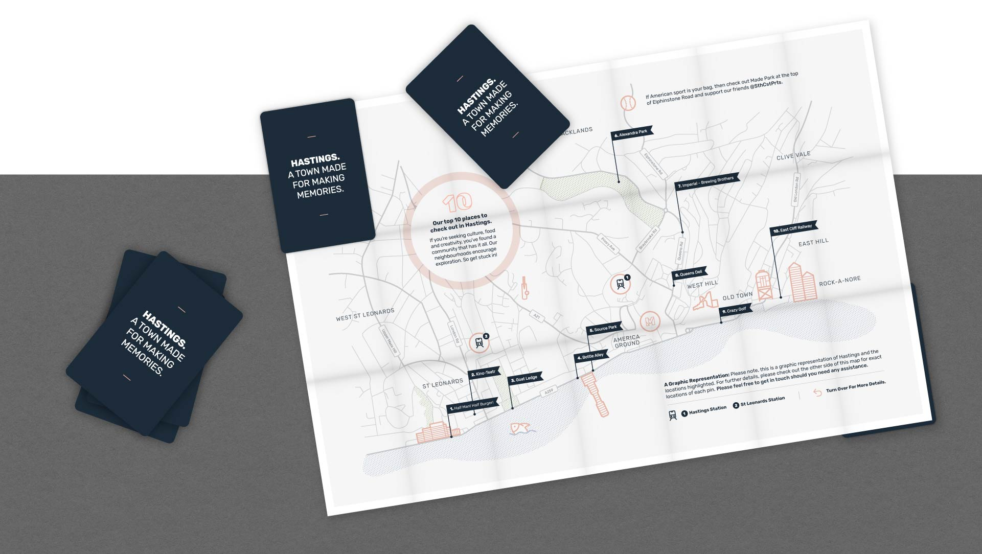 Made Hastings custom designed map Z-cards.