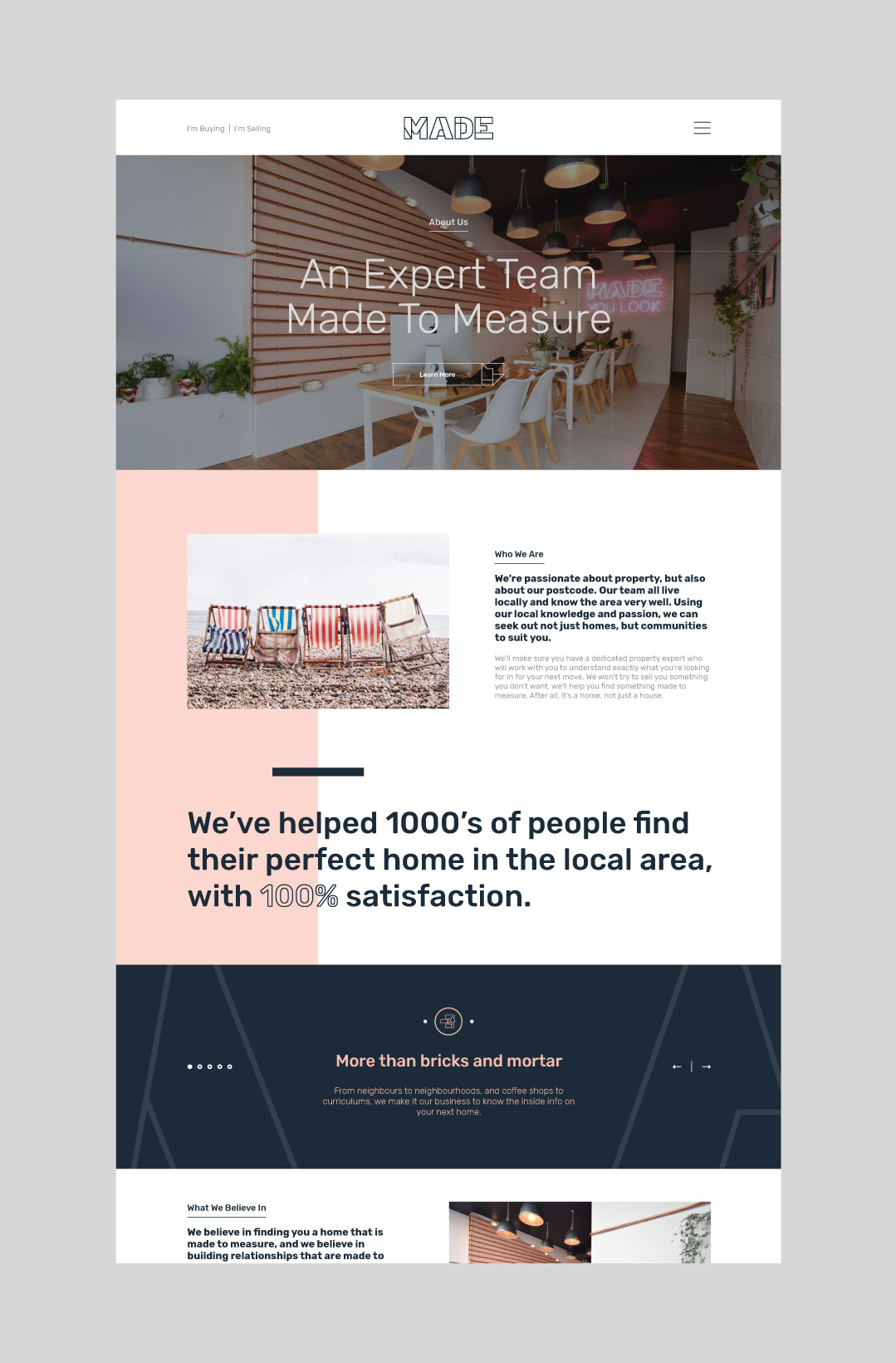 Made Hastings bespoke website design showing the home page.