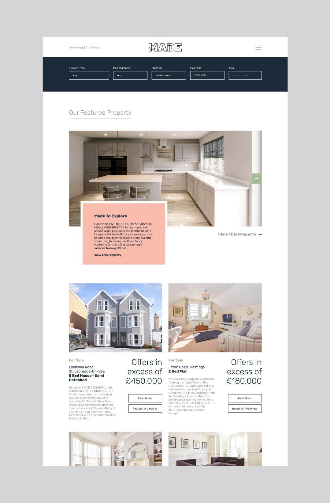 Made Hastings bespoke website design showing the properties page.