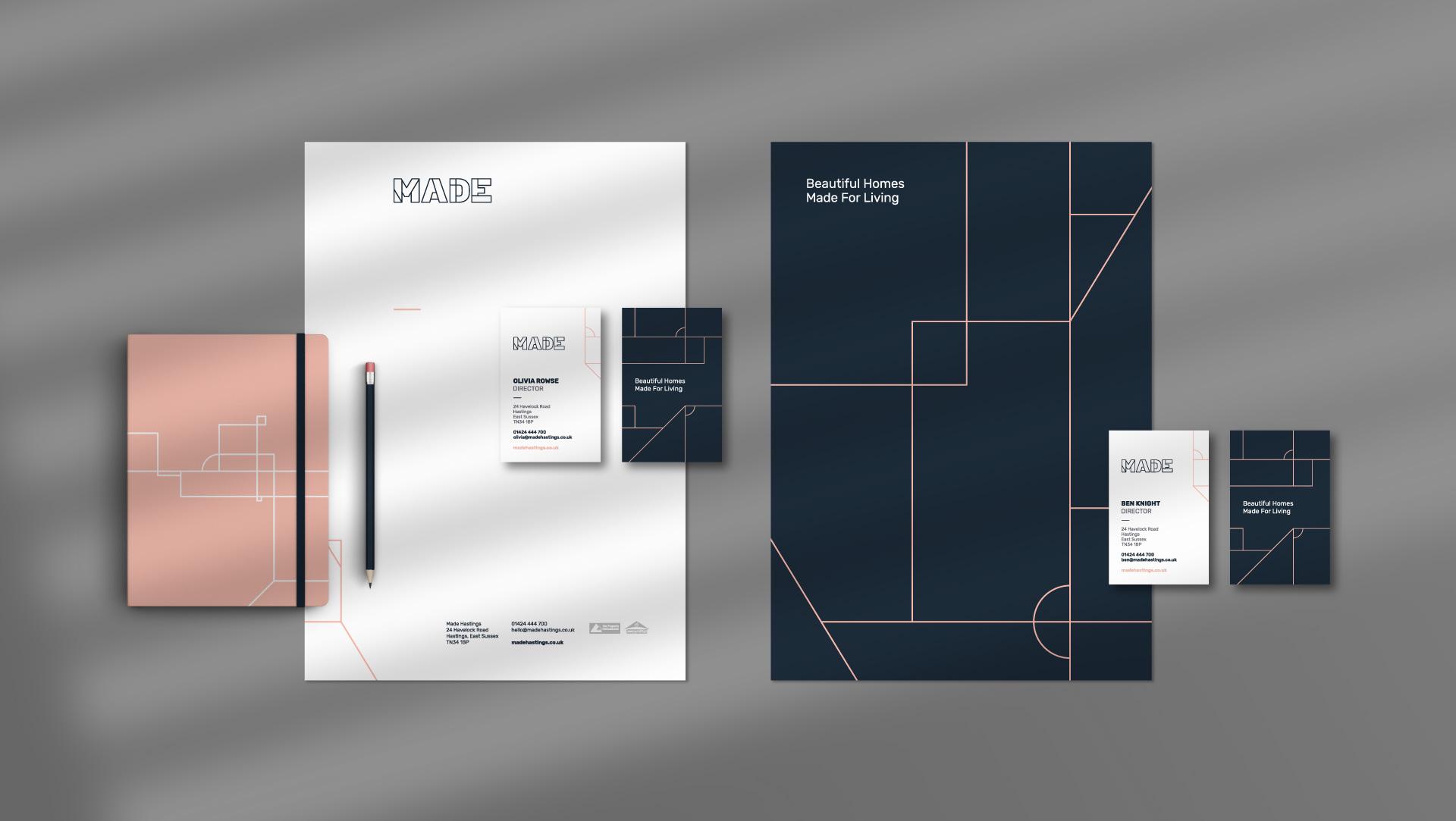 Made Hastings estate agency branding stationery design.