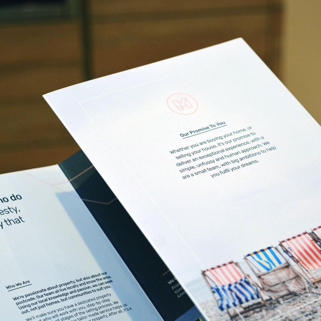 Made Hastings estate agency branding applied to brochure design.