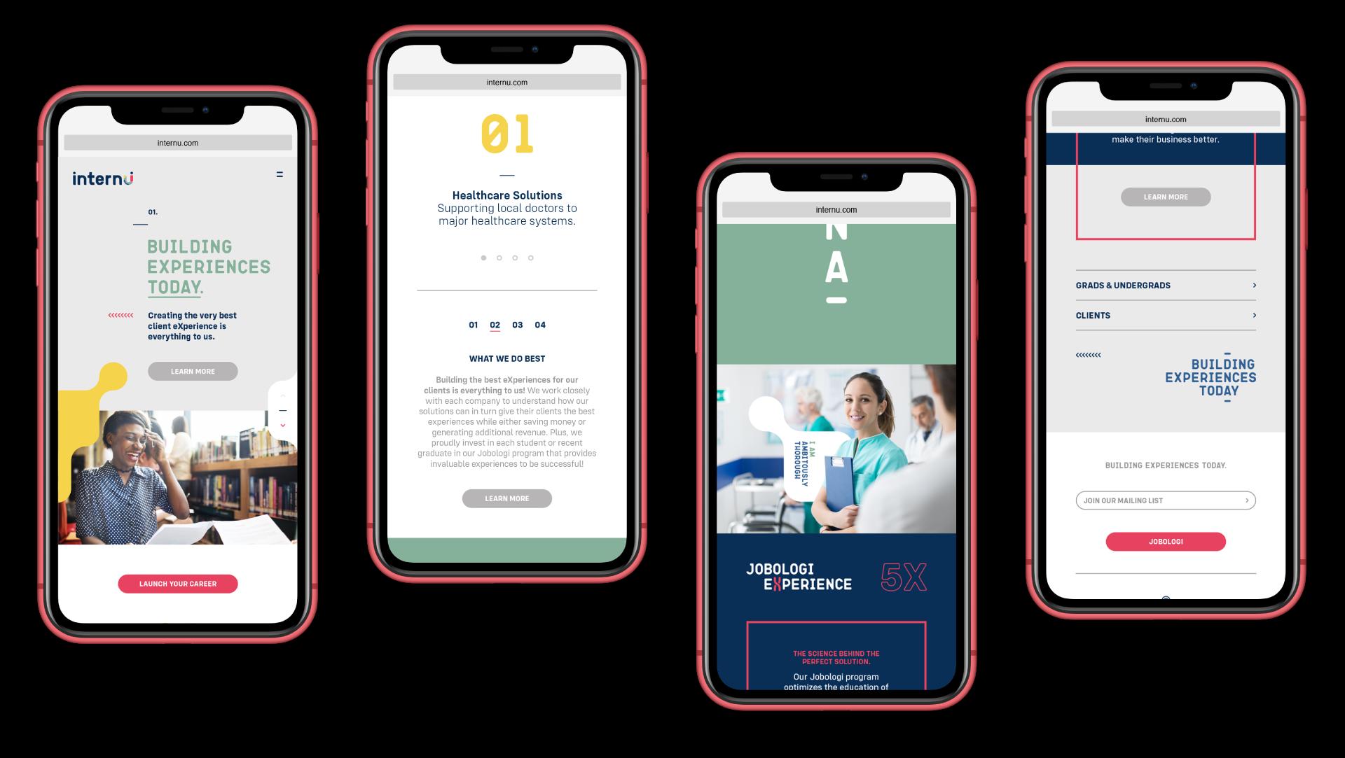 internU website showing the mobile designs.