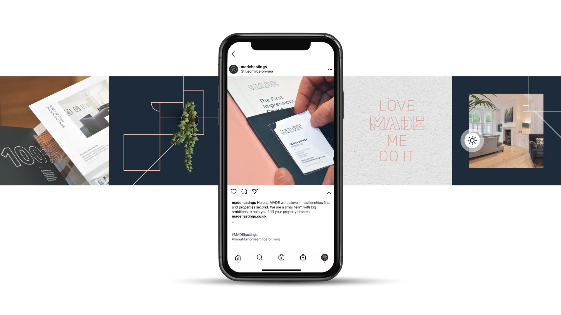 Made Hastings instagram mobile visual showcasing the visual strategy.