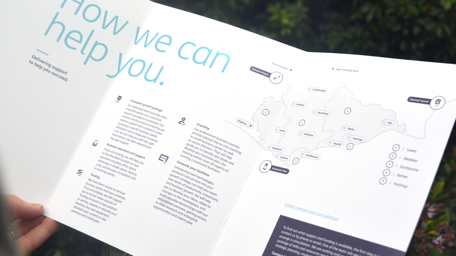 Locate East Sussex brand communications print design of fold out brochure.