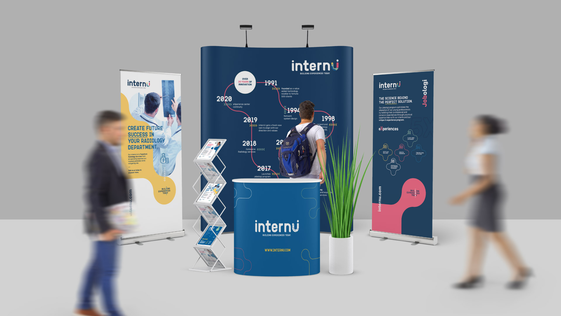 internU recruitment branding applied to their event and exhibition stand design.