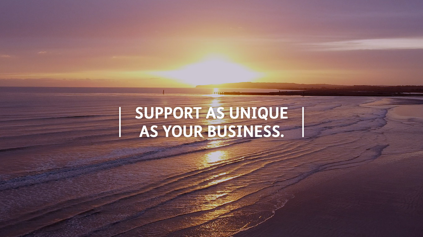 Support as unique as your business strapline over a beautiful east sussex sunset.