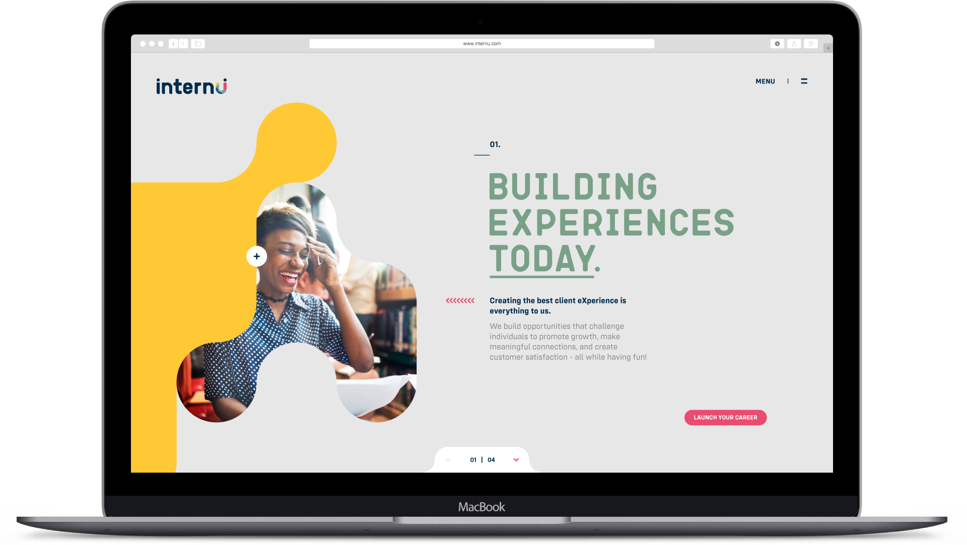 internU website design of the home page.