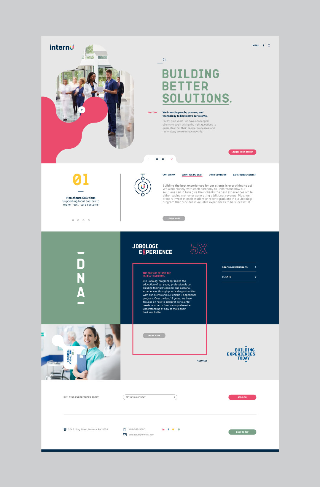 internU website showing the homepage design.