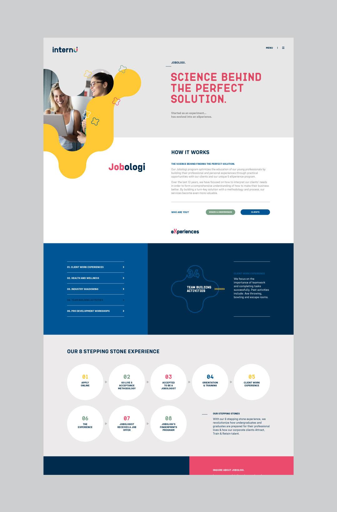 internU website showing the jobologi page design.