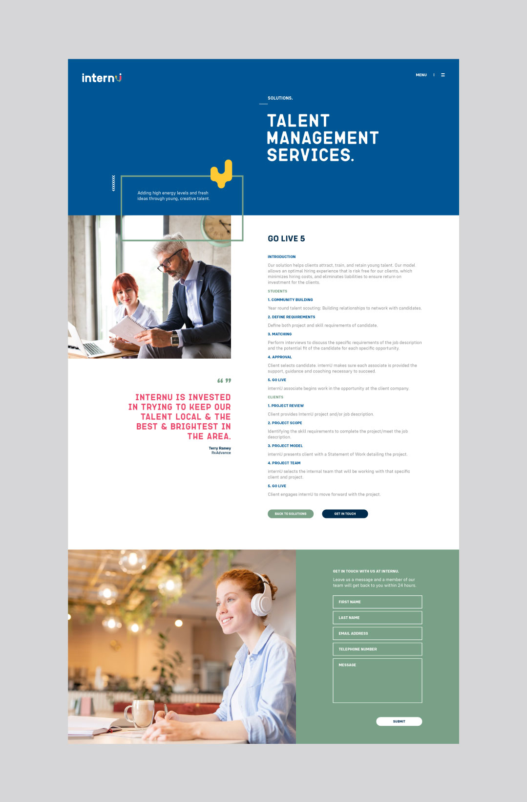 internU website showing the solutions page design.