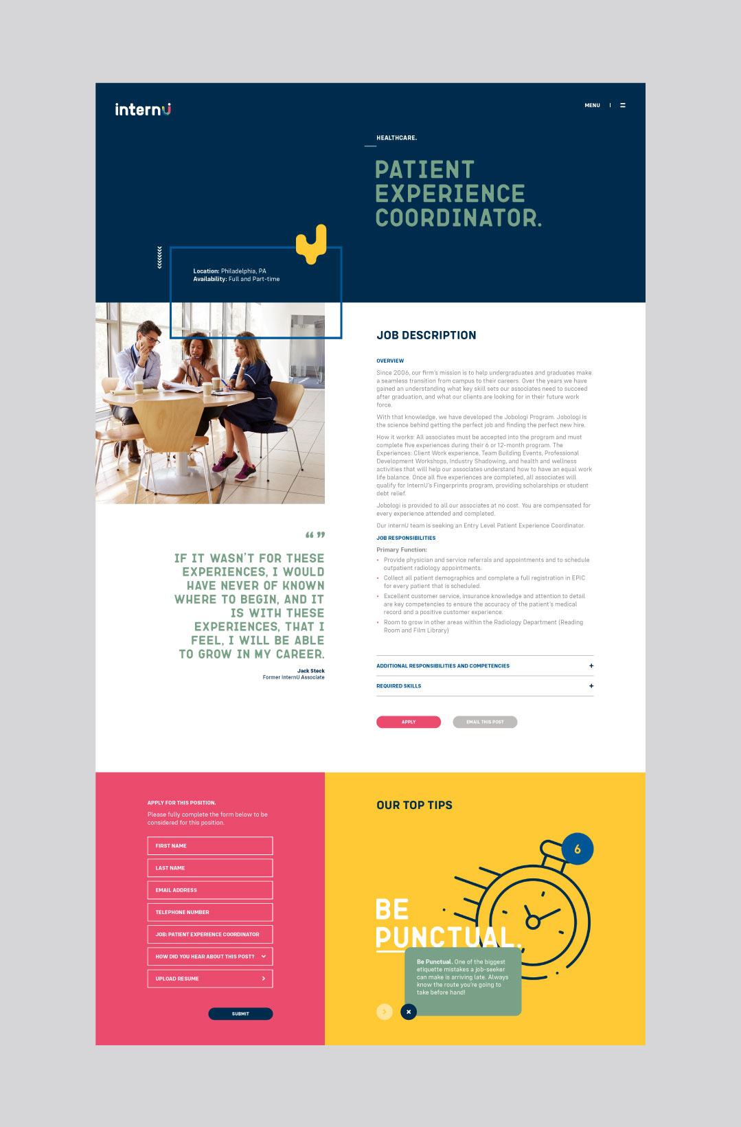 internU website showing the healthcare page design.