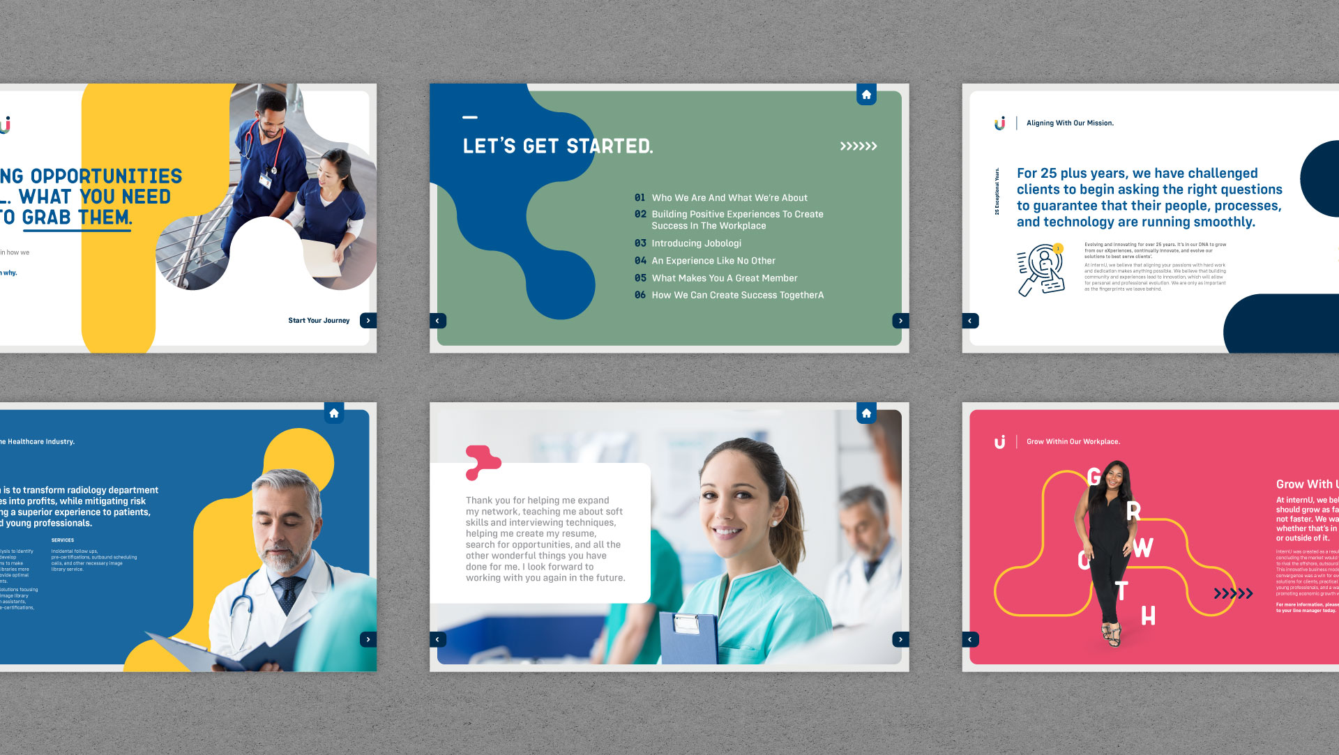 internU recruitment branding applied to a slide deck for print and digital applications.