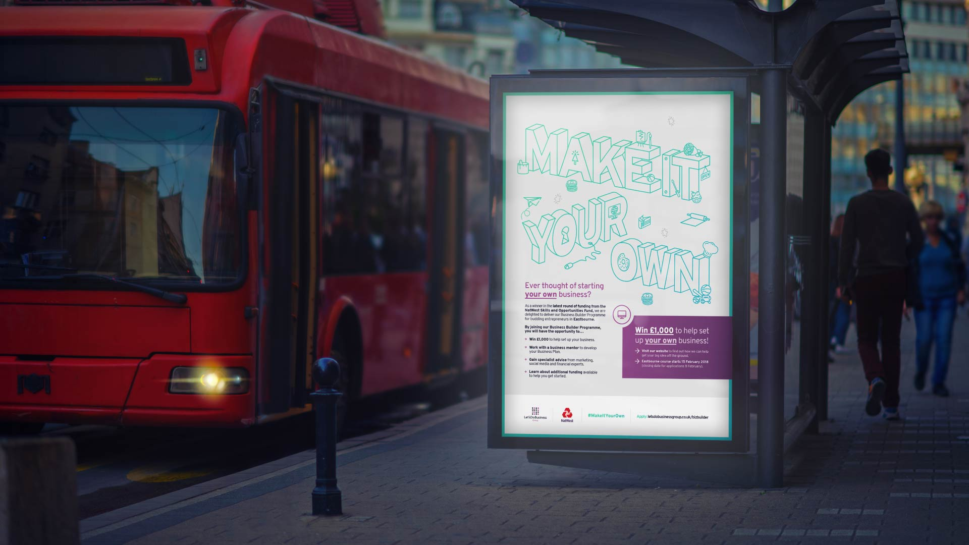 Large graphic advertisement for Make It Your Ow brand campaign.