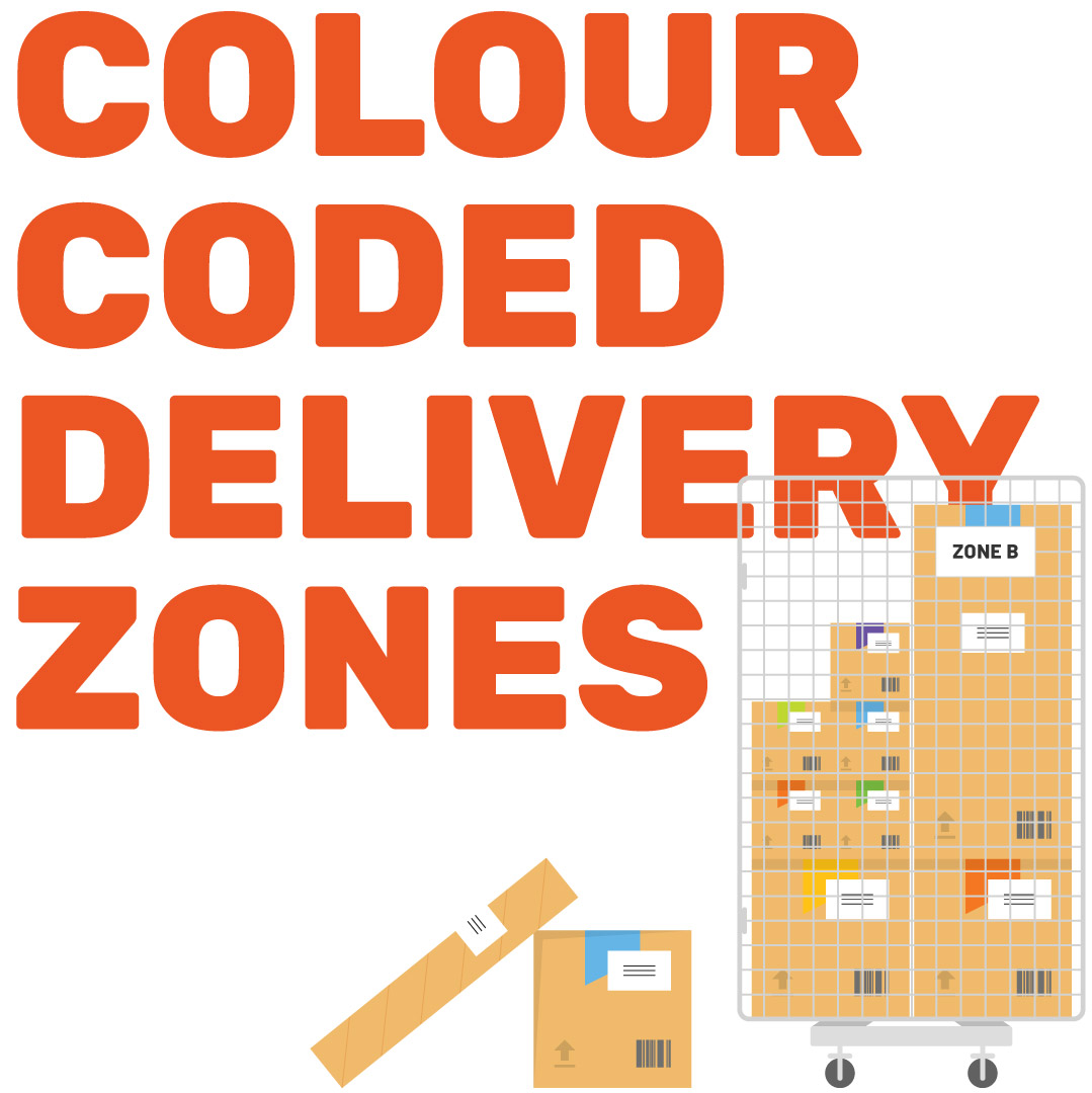 Colour coded deliveries illustration graphic.