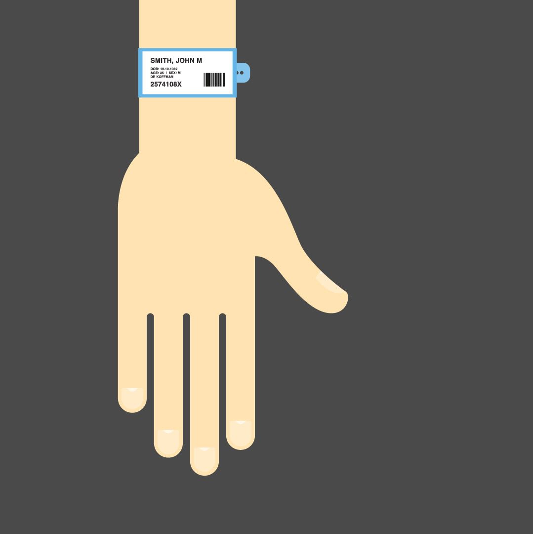 Brand illustration of a patients hand and hospital ID band.