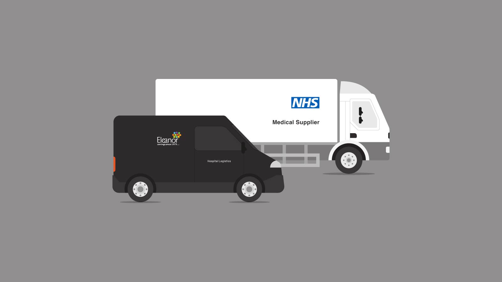 Bespoke brand illustration of an NHS supply truck and a Eleanor Healthcare van.
