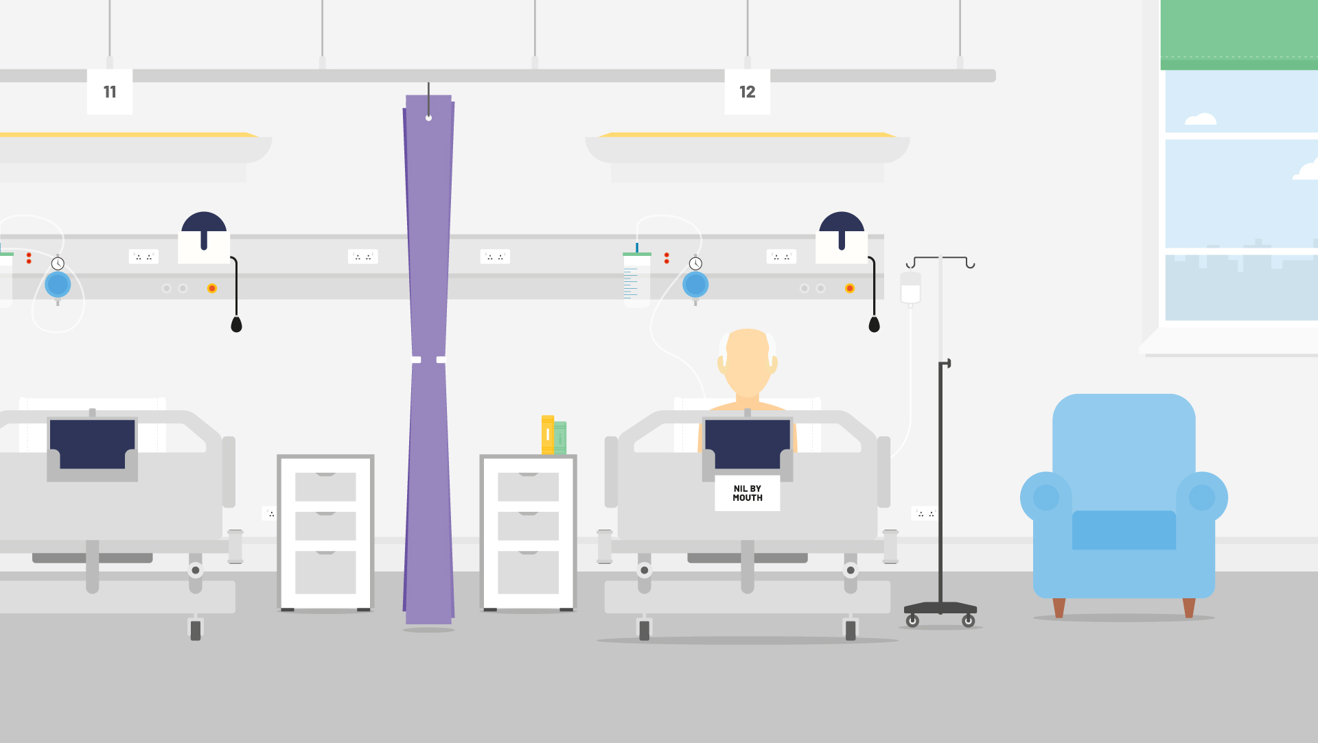 Large hospital ward illustration image of a man in his hospital bed.