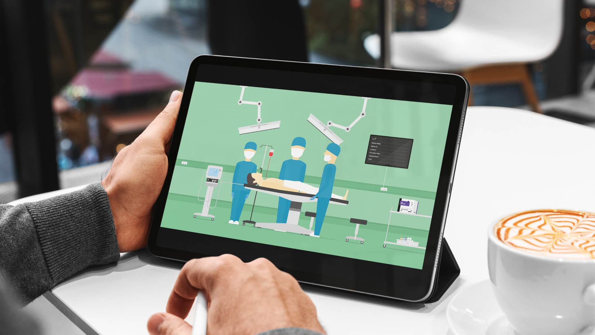 Eleanor Healthcare Brand illustration and logistics animation on a tablet device.