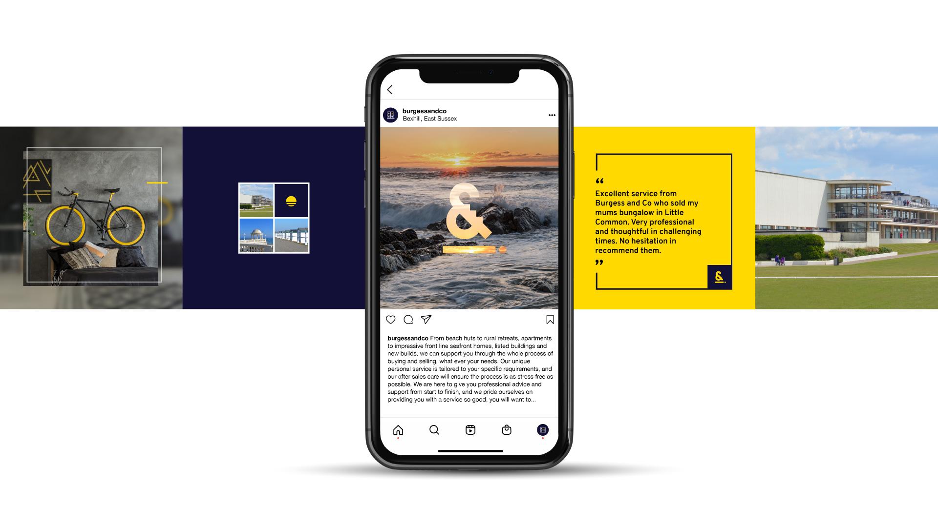 Social media designs applied to instagram visual.