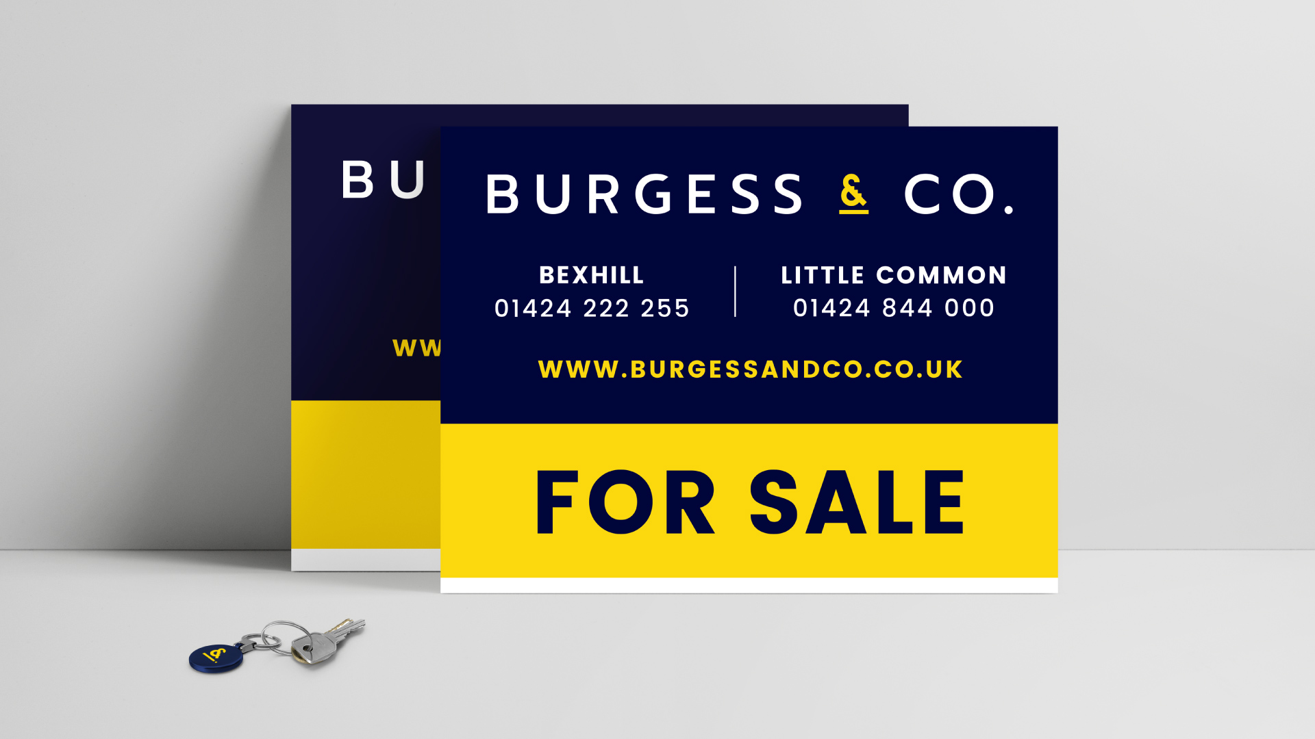 Burgess&Co. brand identity for sale boards.
