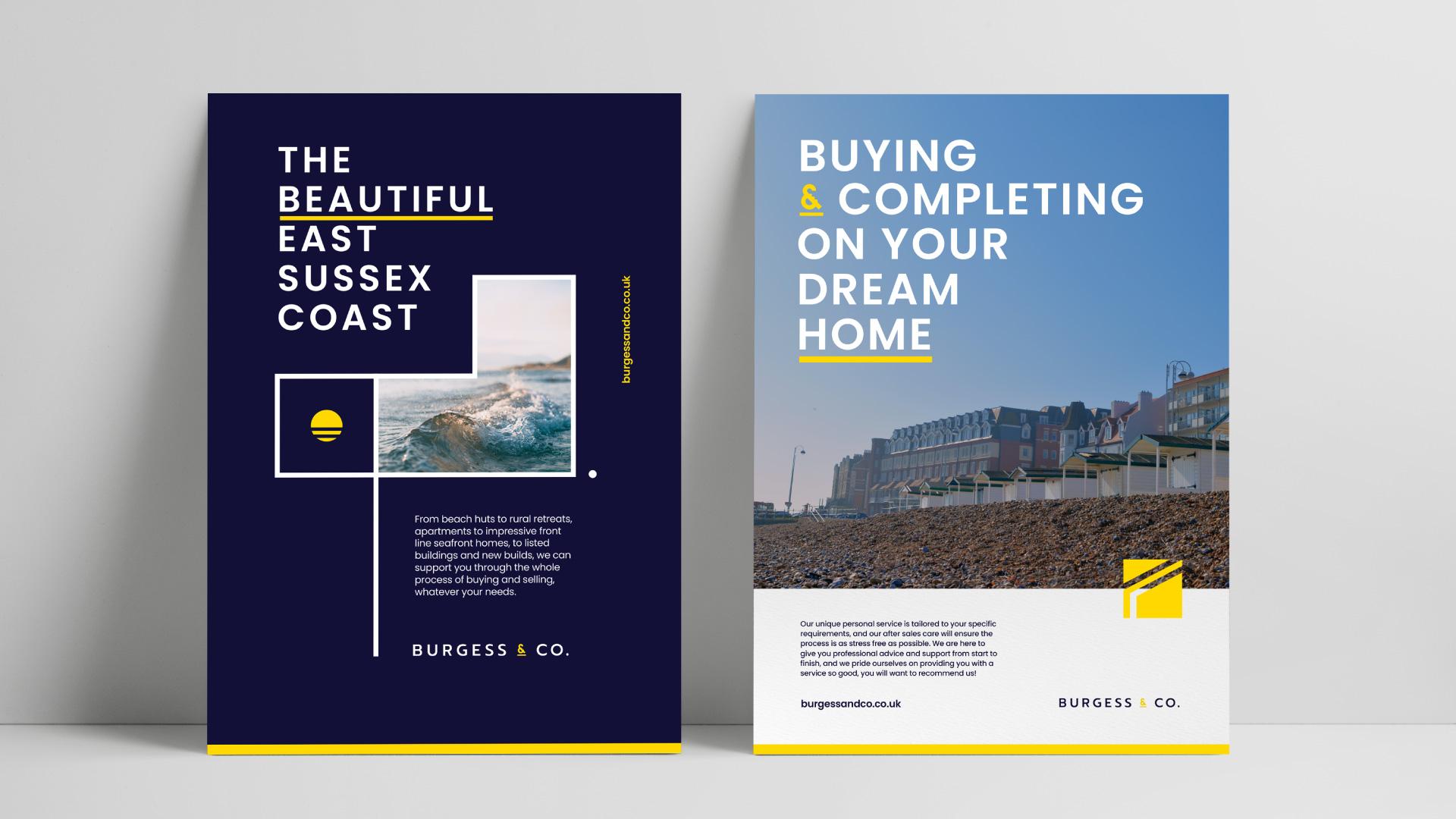 Burgess&Co brand identity poster designs.