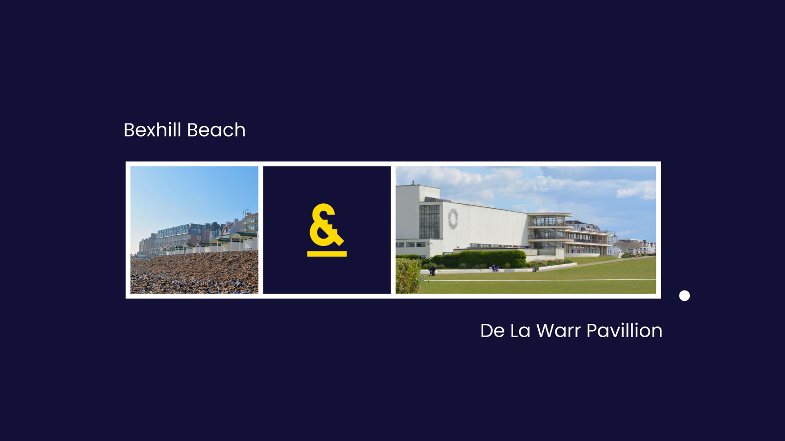 Brand identity graphic device showing the beach and De La Warr Pavillionl