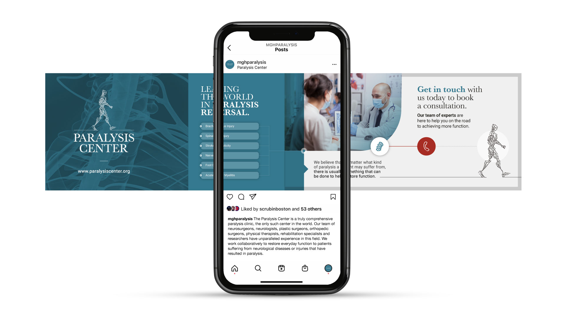 Paralysis Center social media marketing mobile device showing instagram designs.