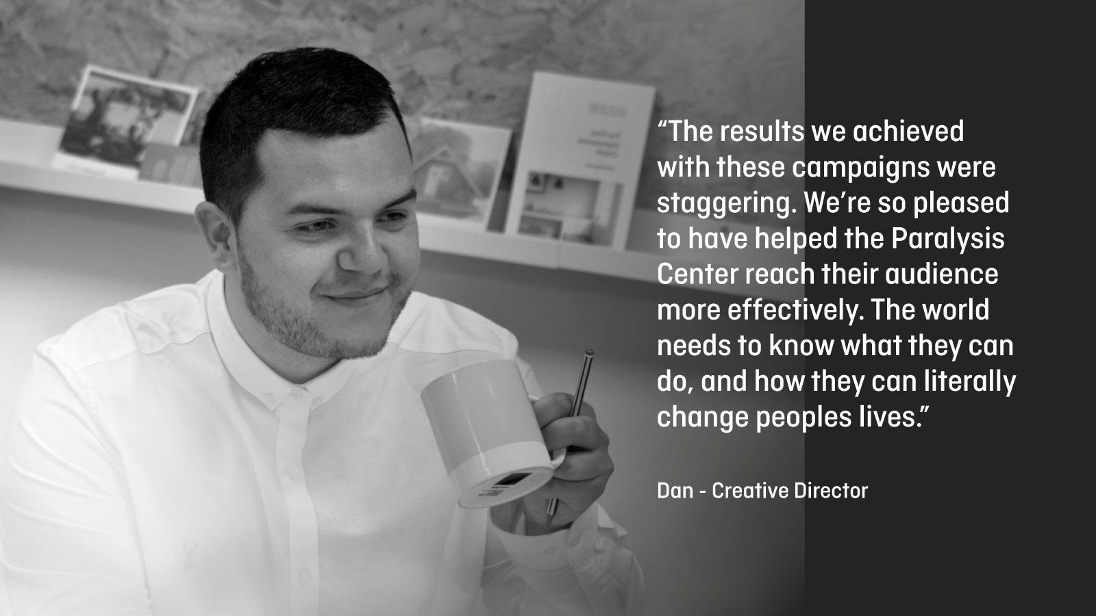Dan Gorham Creative Director with digital marketing quote.