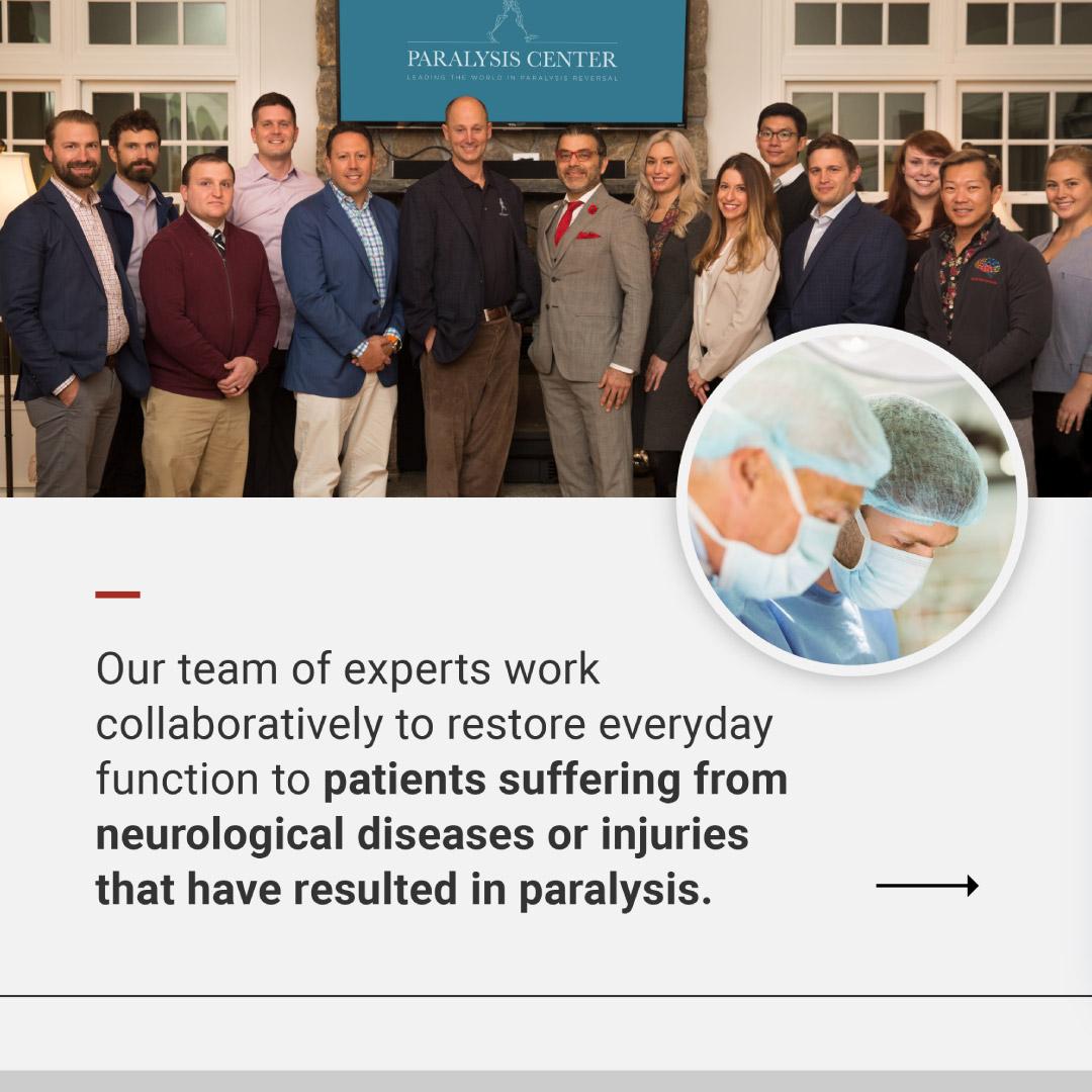 Paralysis Center brand social media image design showing the team.