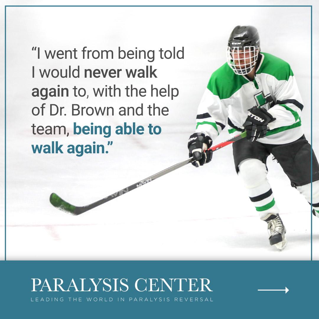 Paralysis Center social media instagram image showing hockey player skating again.