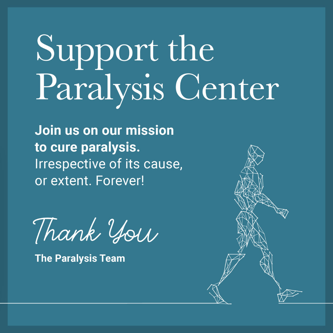 Paralysis Center social media instagram image asking for support.