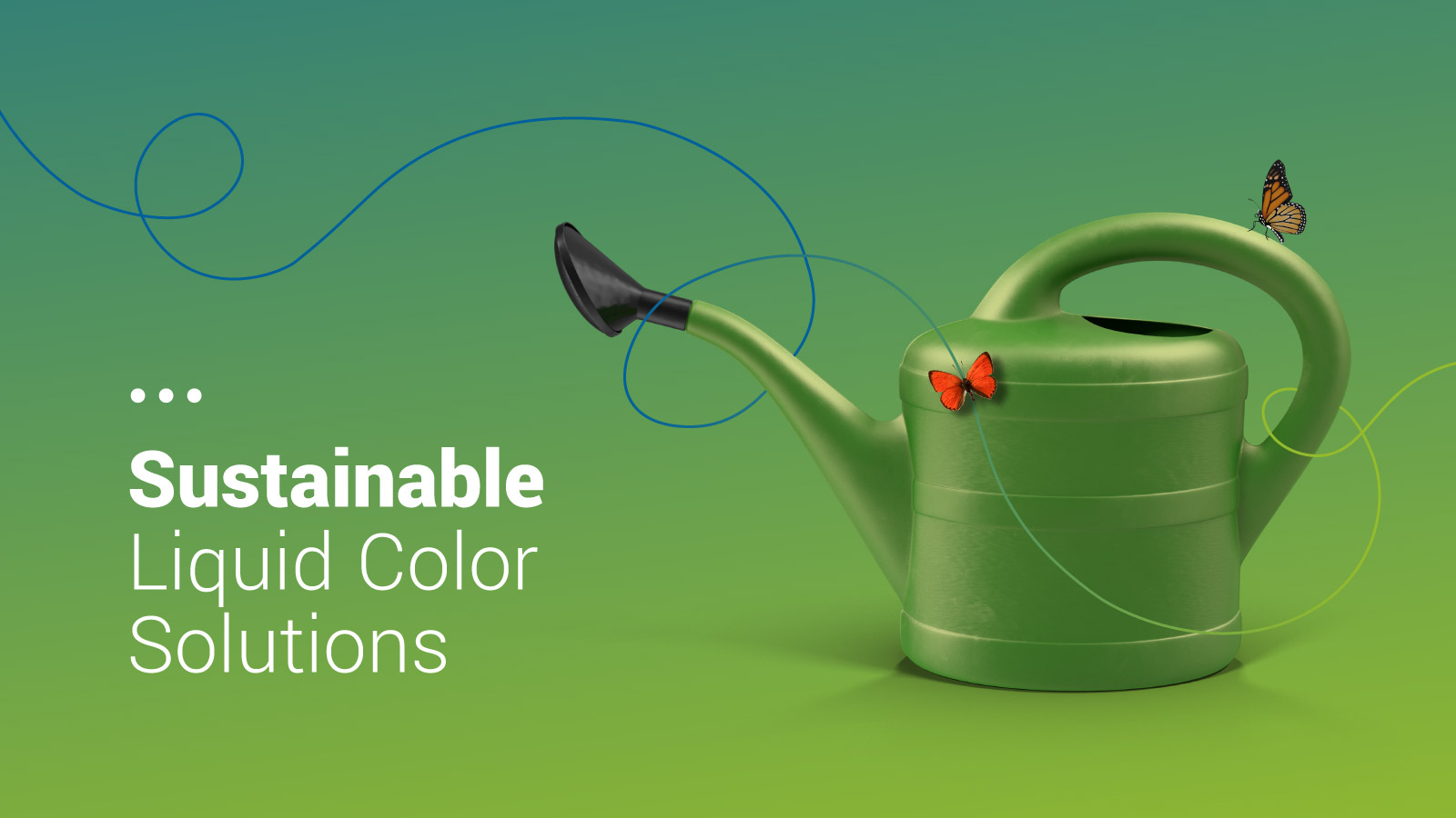 Sustainable colour graphic design with butterflies and plastic watering can.