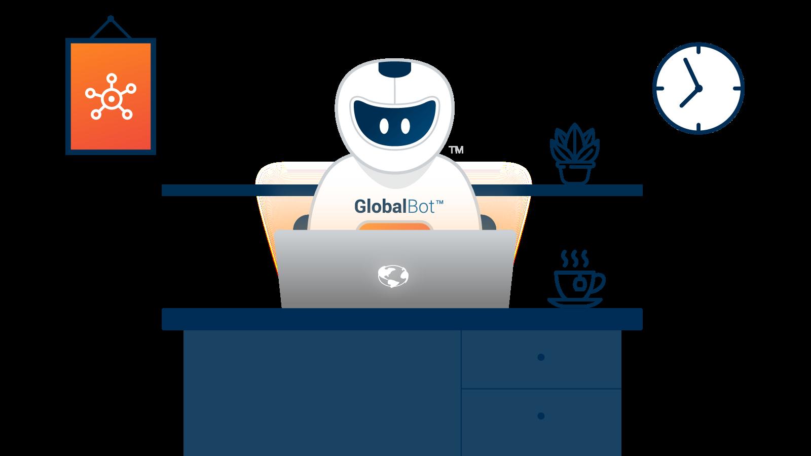Riverdale Global branding, GlobalBot desk graphic.