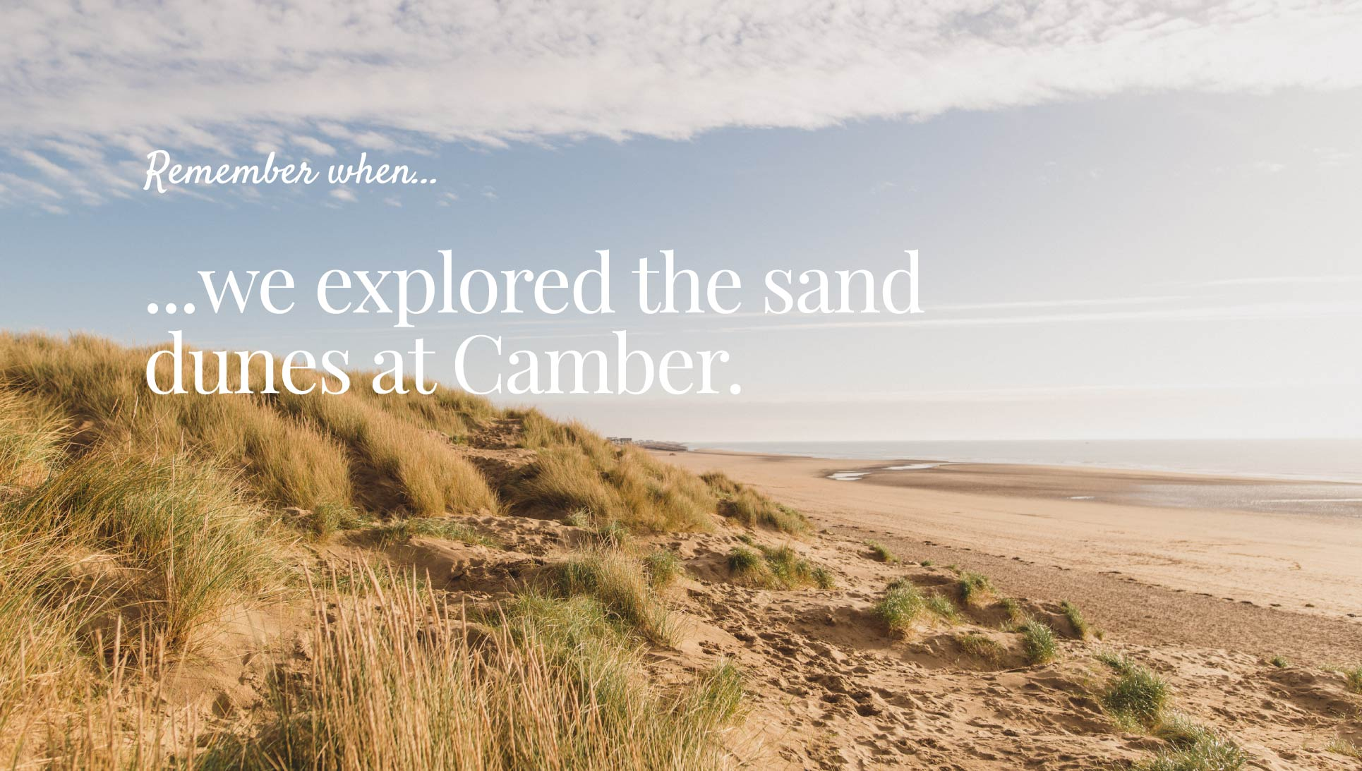 Remember when we explored the sand dunes at Camber sands brand graphic.