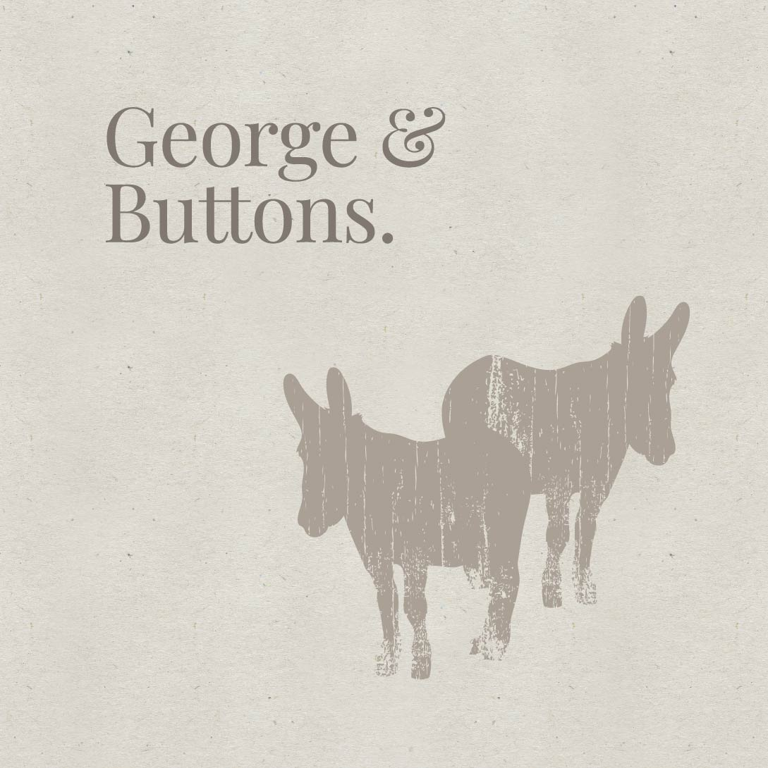 Swallowtail Hill brand illustrations of donkeys George and Buttons.