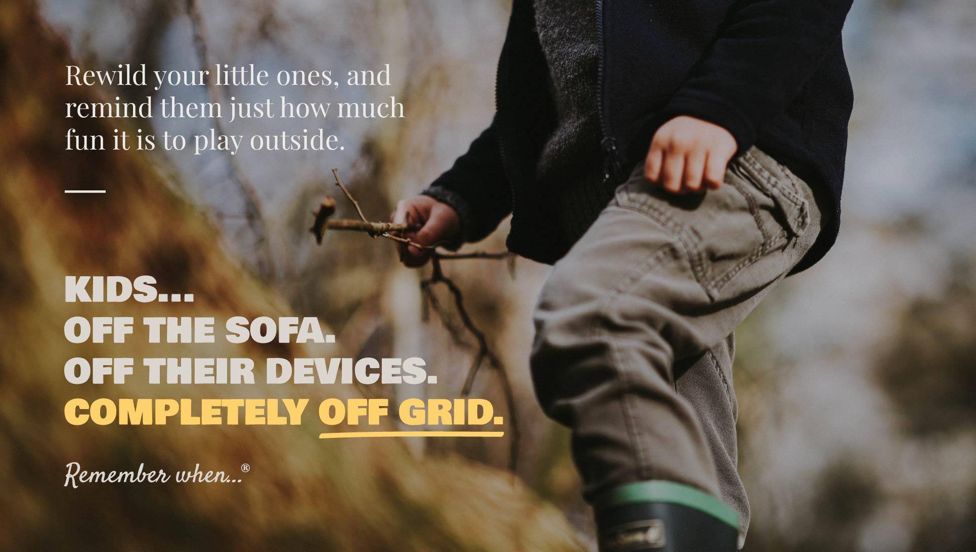Kids Off Grid brand language communication graphic design image.