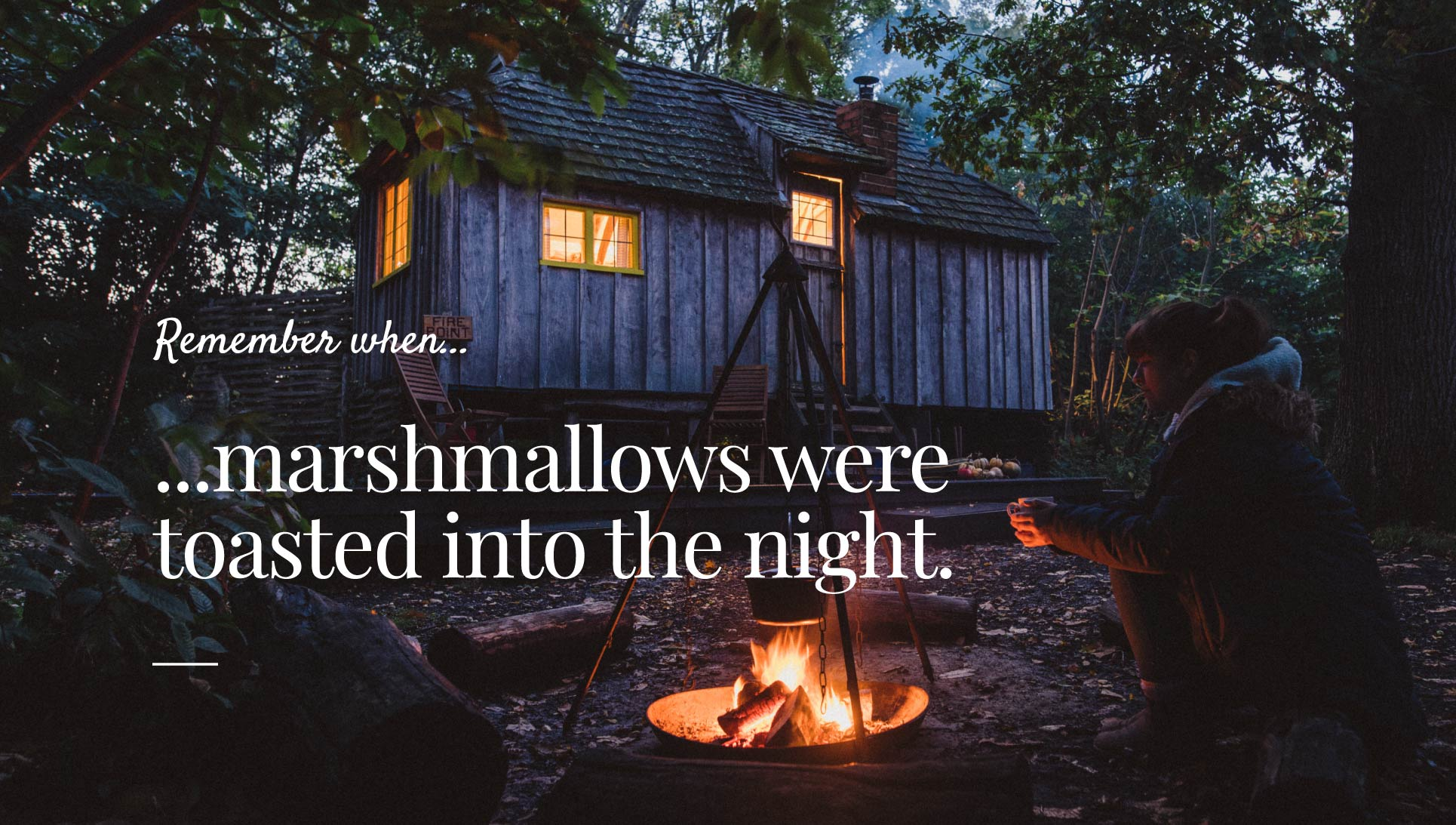 Remember when marshmallows were toasted into the night graphic design.