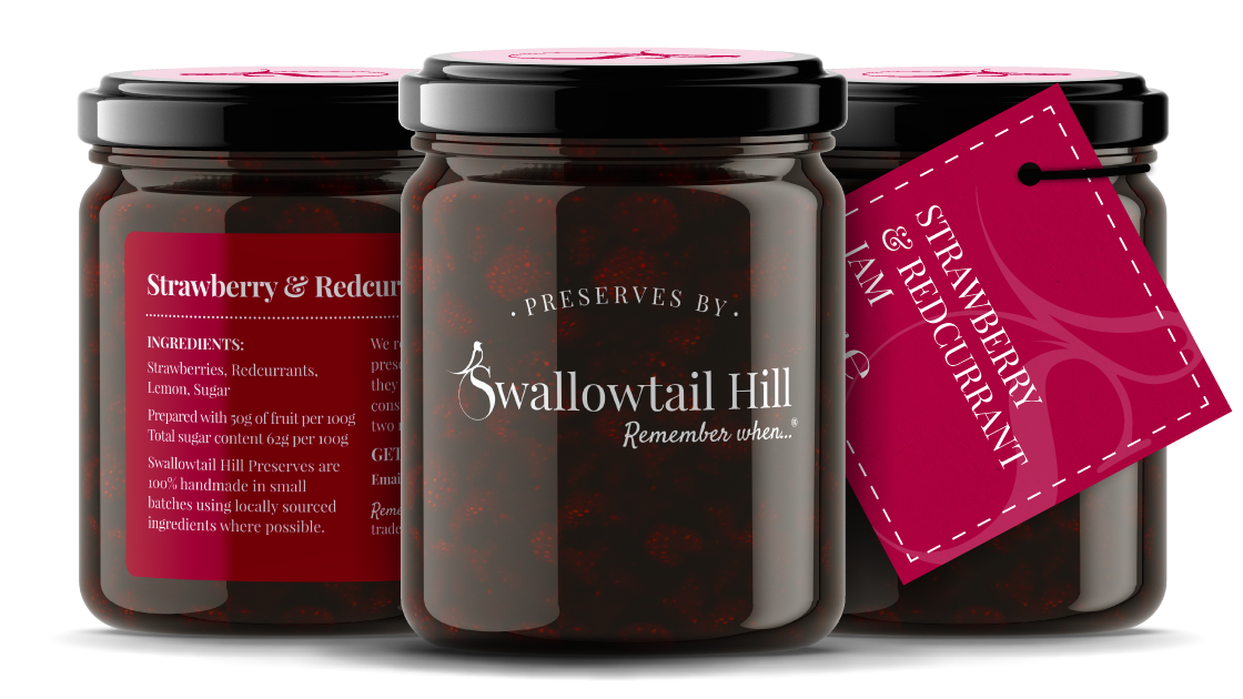 Swallowtail Hill Preserves branding and photo of 3 jars.