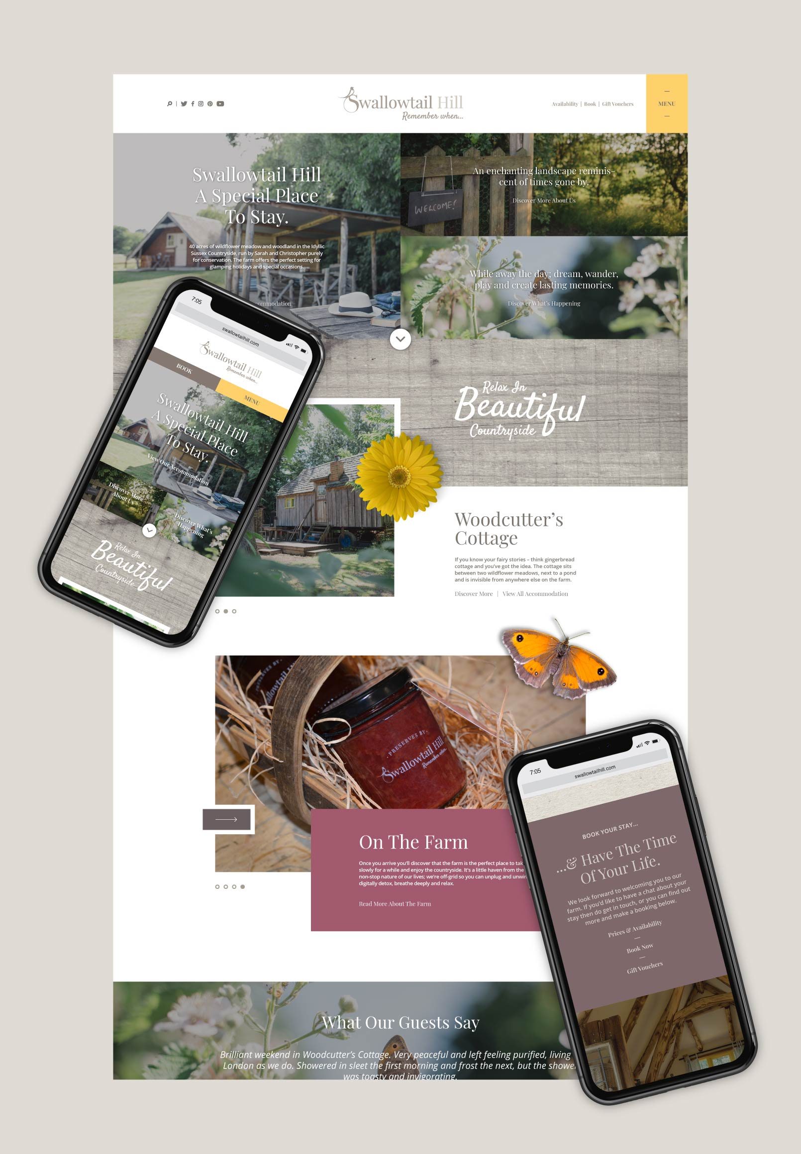 Brand and digital design of the bespoke Swallowtail Hill website.
