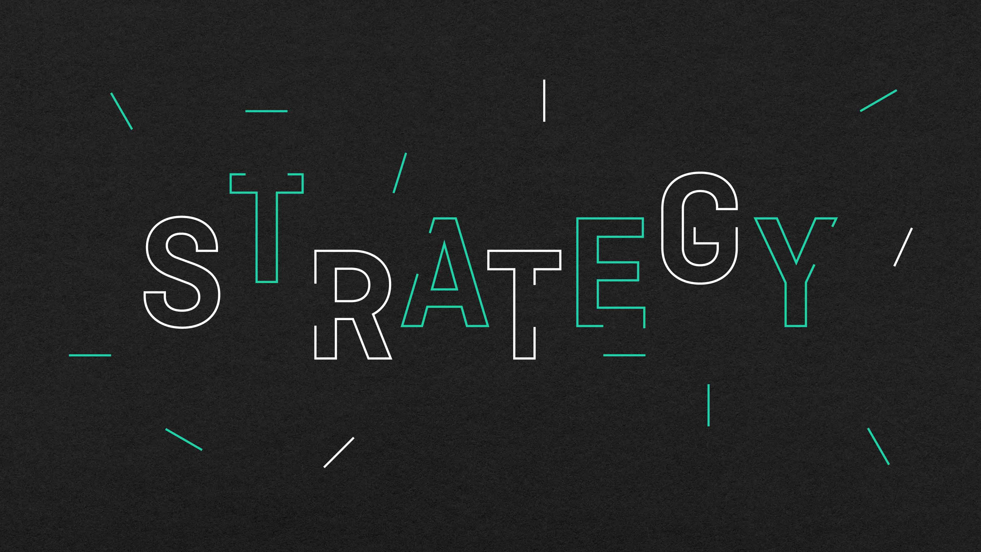 Brand strategy and creative design graphic.